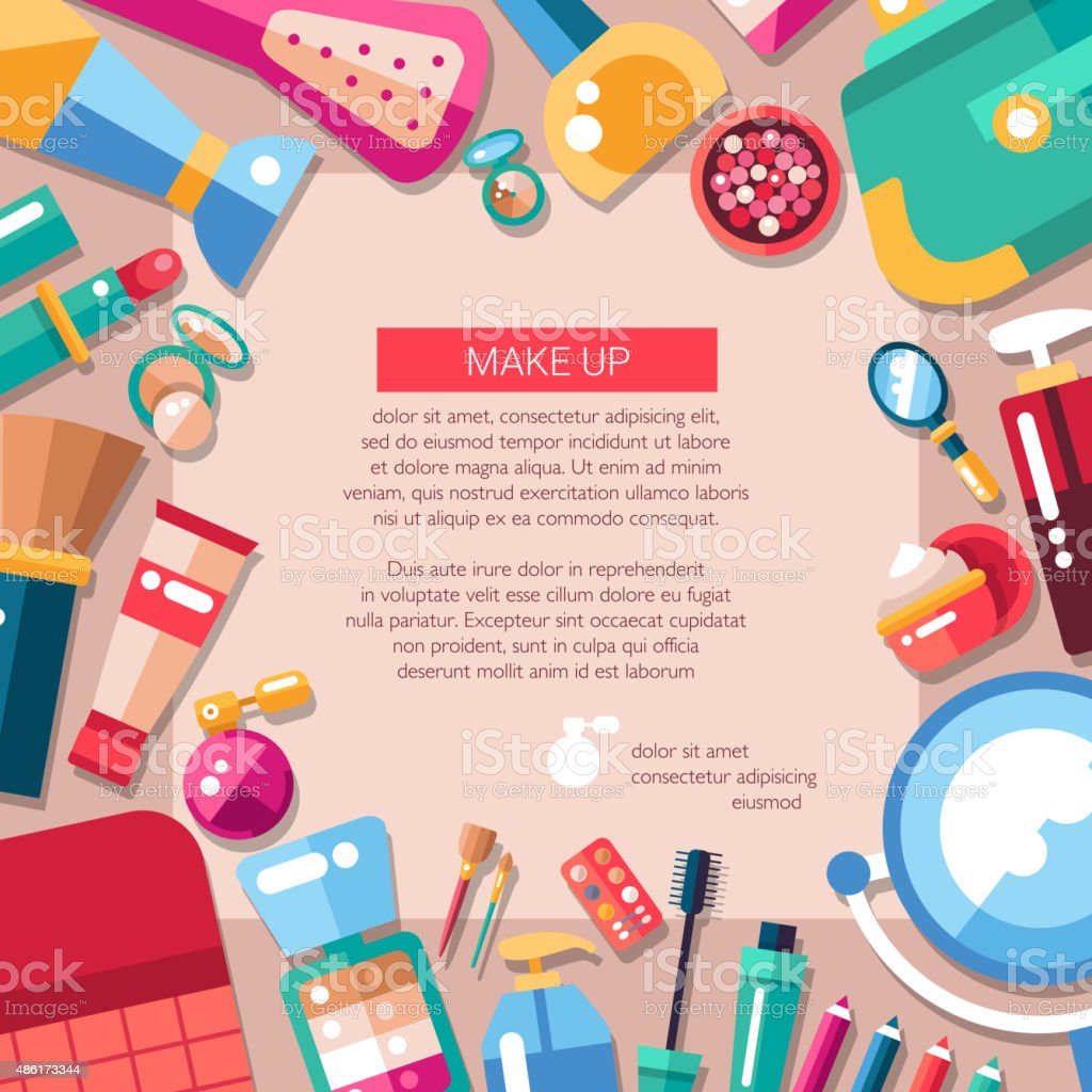 Postcard template of flat design cosmetics, make up icons and vector art illustration