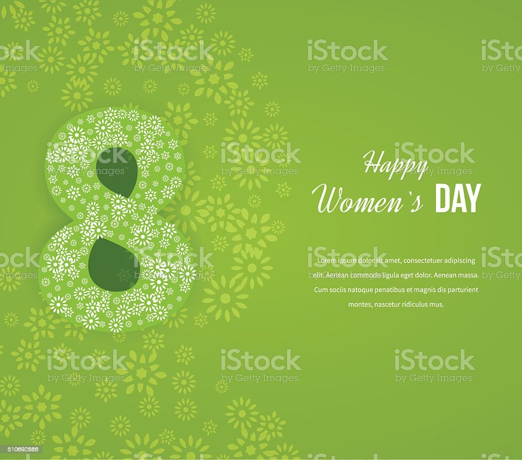 Postcard to March 8. Happy Women's Day background. vector art illustration