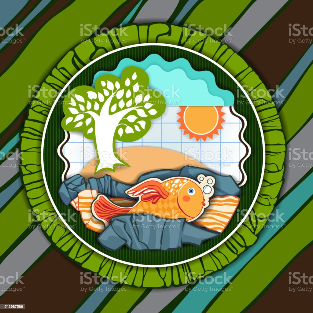 Postcard with a fish vector art illustration