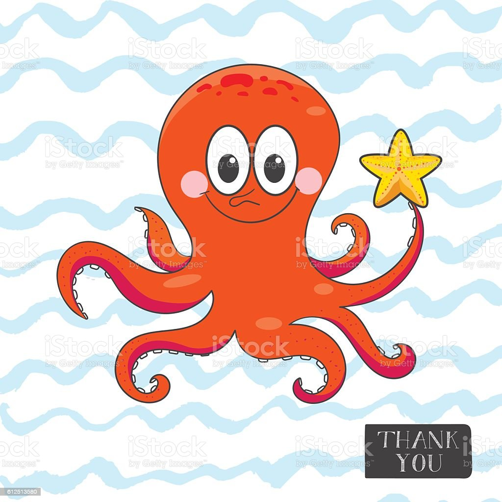 Postcard with a funny octopus. vector art illustration