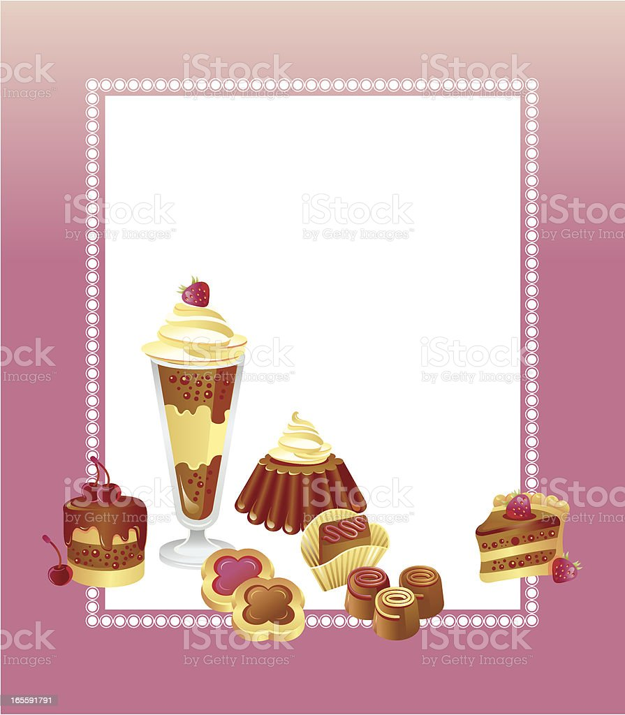 postcard with chocolate sweets royalty-free stock vector art