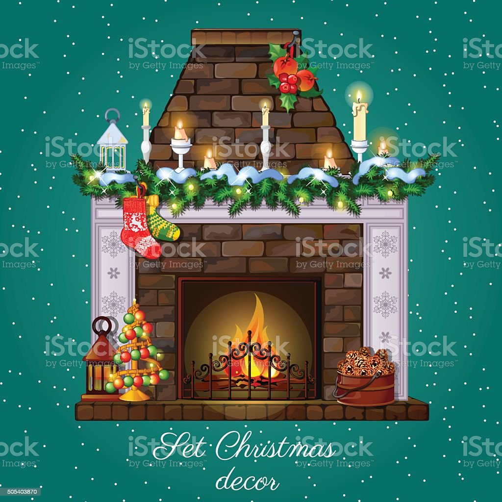 Postcard with Christmas fireplace vector art illustration