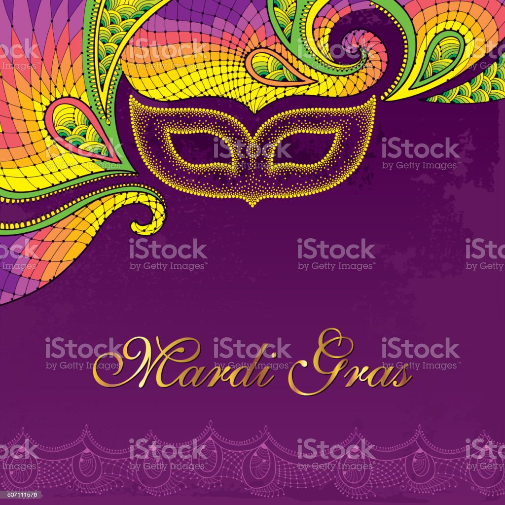 Postcard with dotted carnival mask in yellow and colorful lace. vector art illustration