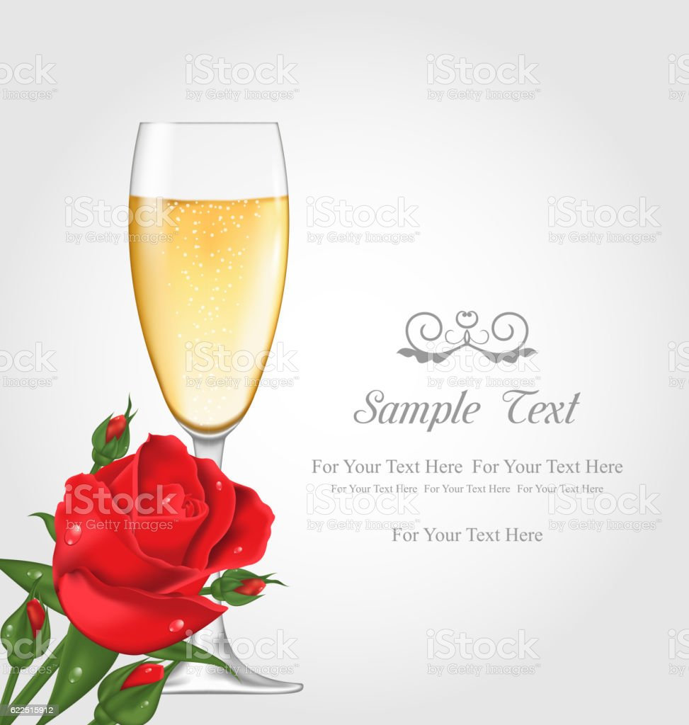 Postcard with Glass of Champagne and Rose vector art illustration