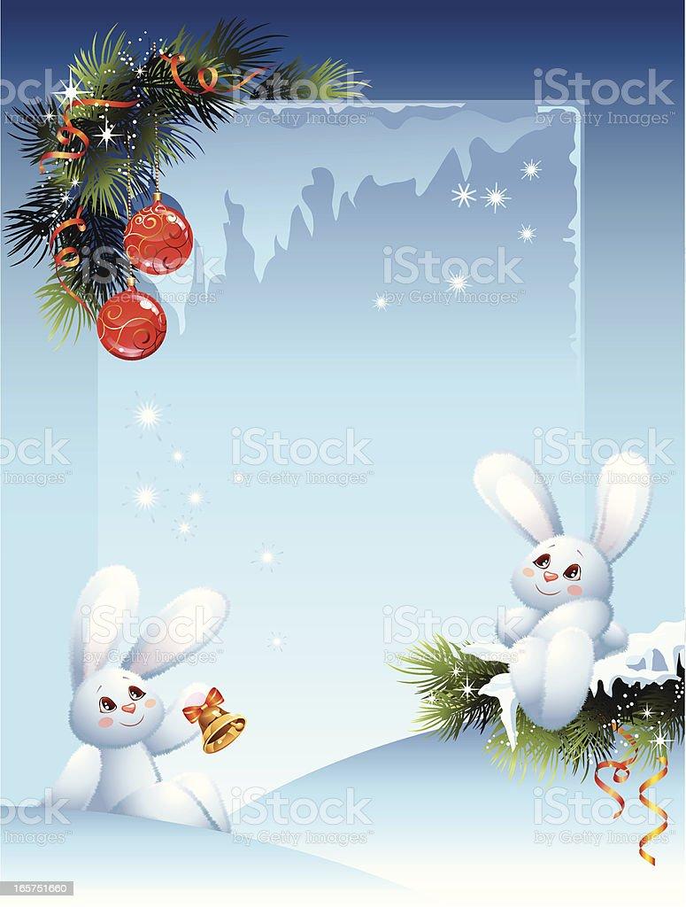 Postcard with white rabbits vector art illustration
