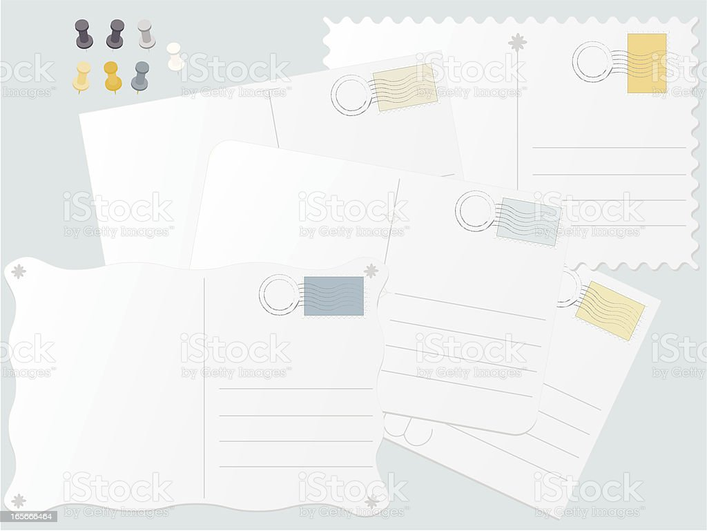 Postcards, Postage Stamps, and Thumbtacks Set vector art illustration