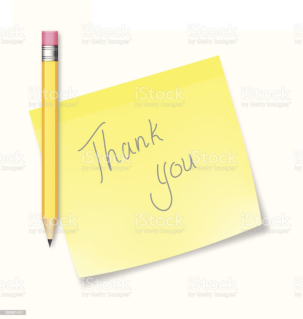 Posted note thank you - VECTOR royalty-free stock vector art