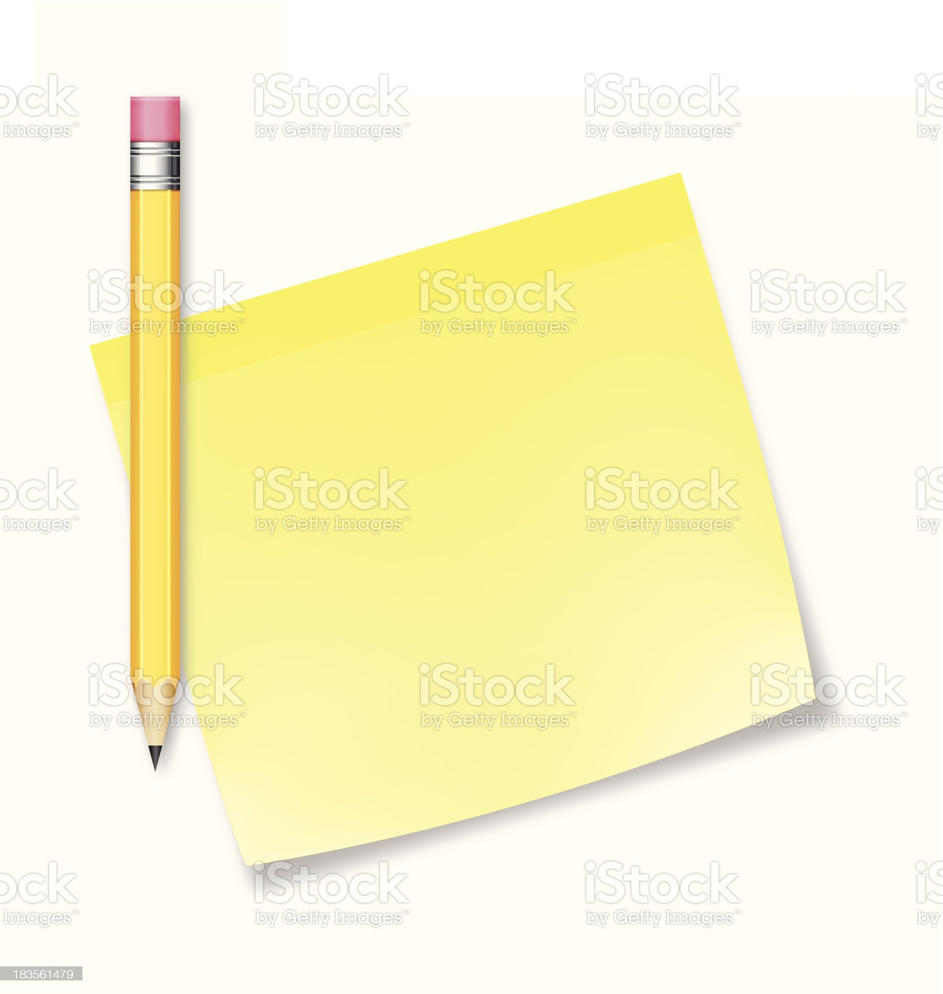 Posted note with pencil - VECTOR royalty-free stock vector art
