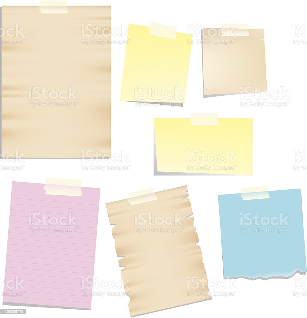 posted papers on stickies royalty-free stock vector art