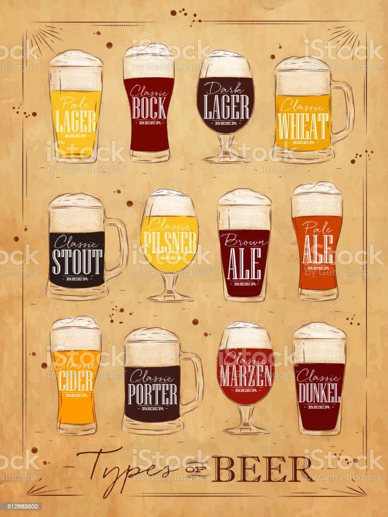 Poster beer kraft vector art illustration