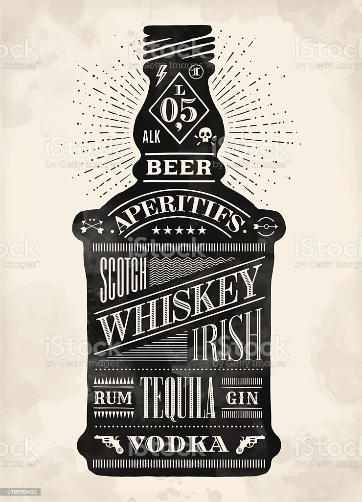 Poster bottle of alcohol with hand drawn lettering vector art illustration