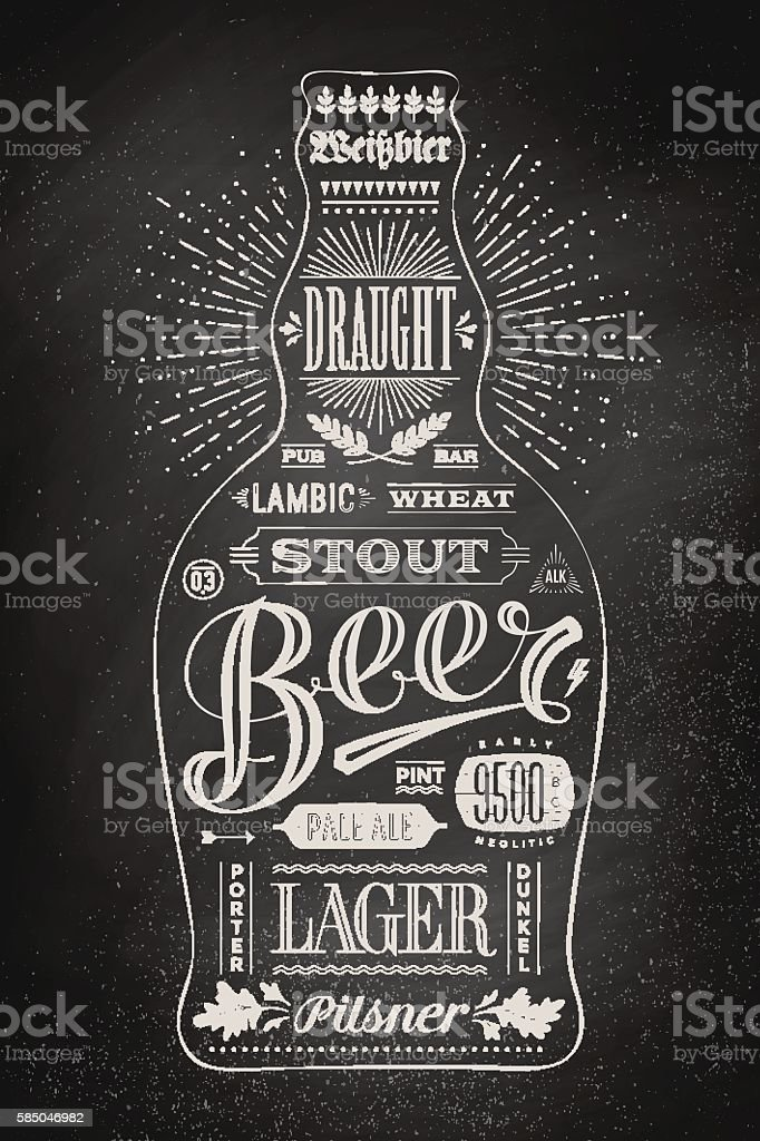 Poster bottle of beer with hand drawn lettering vector art illustration