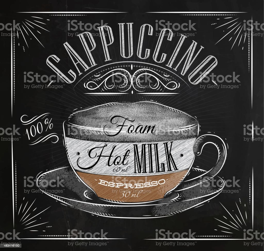Poster cappuccino chalk vector art illustration