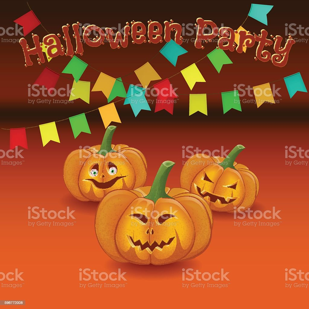 Poster cartoon-style family fun disco party celebrating Hallowee vector art illustration