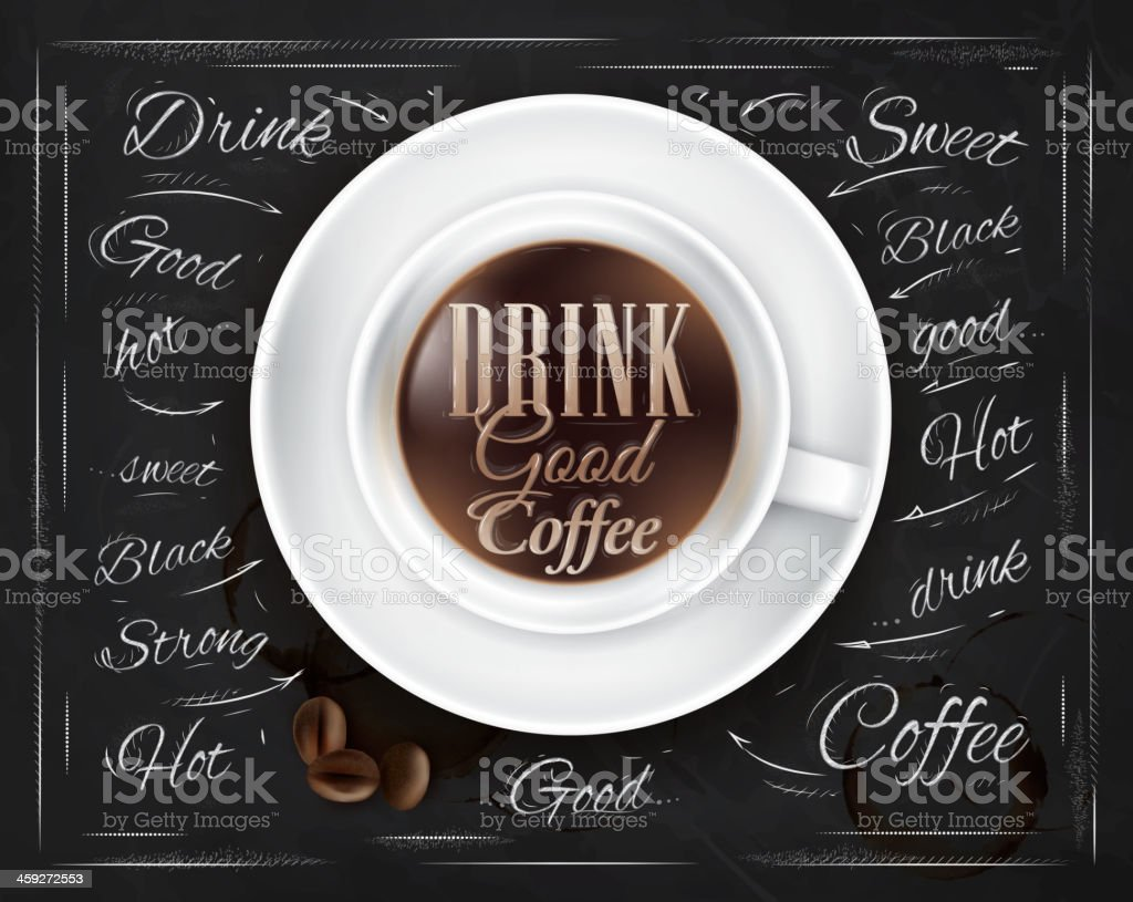 Poster coffee chalk on the blackboard with a cup. royalty-free stock vector art
