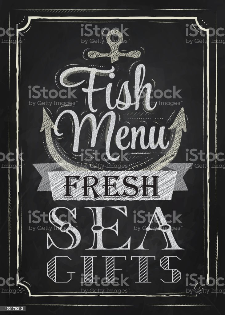 Poster Fish menu fresh sea gifts chalk on blackboard vector art illustration