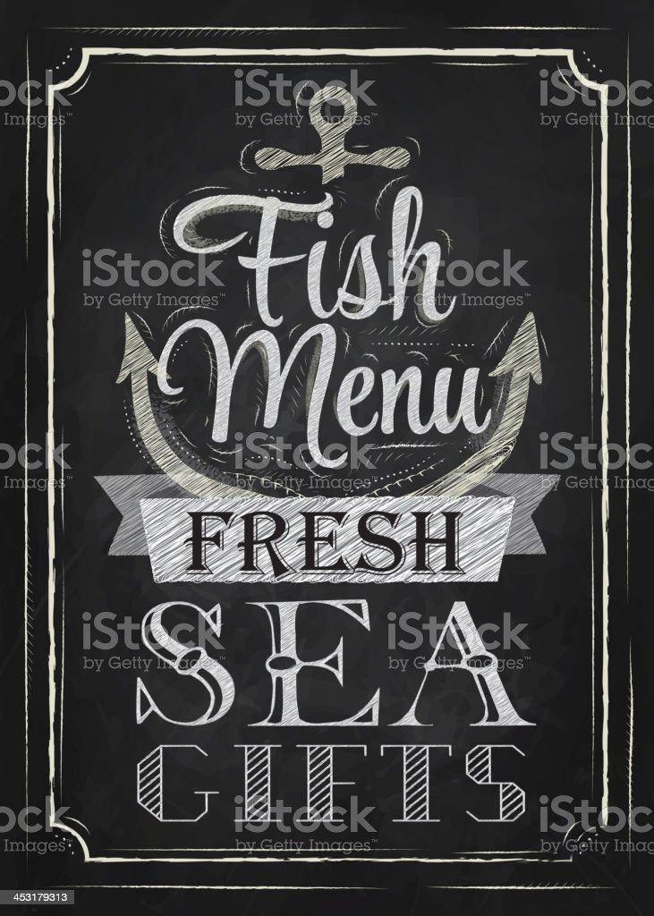 Poster Fish menu fresh sea gifts chalk on blackboard vector art illustration