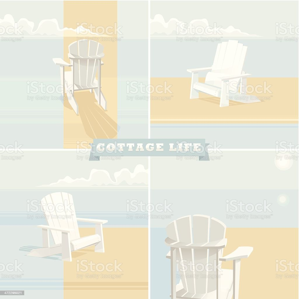 A poster for cottage life with beach chairs  vector art illustration