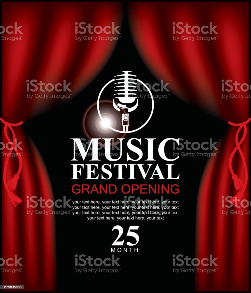 poster for music festival with microphone vector art illustration