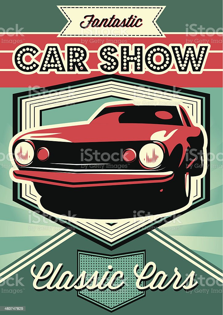 poster for the exhibition of cars vector art illustration