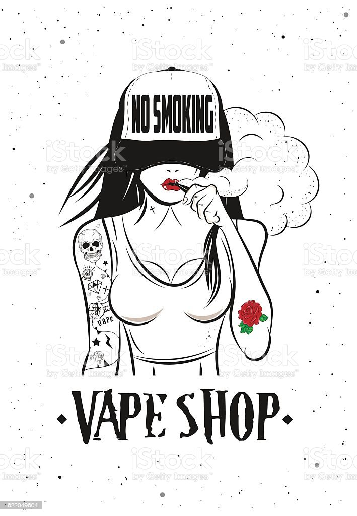 Poster For Vape Shop vector art illustration