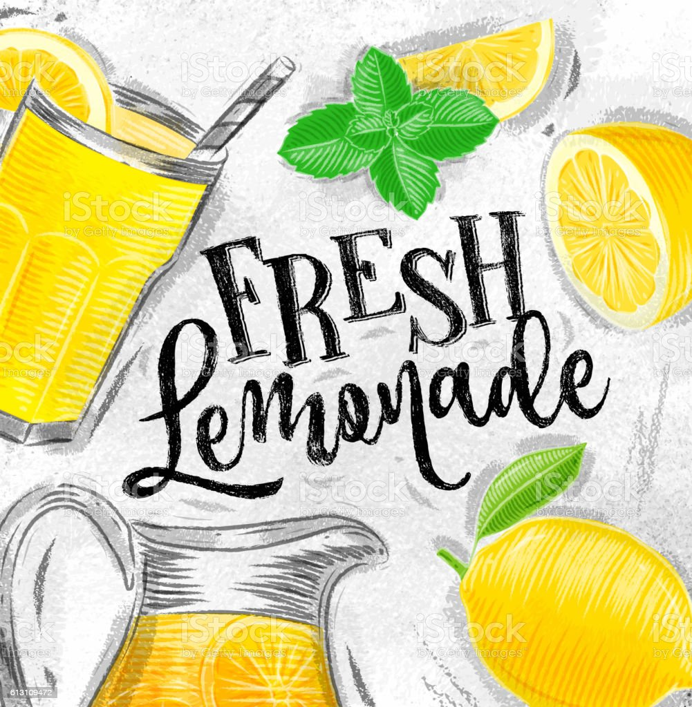 Poster Fresh Lemonade stock vector art 613109472 | iStock