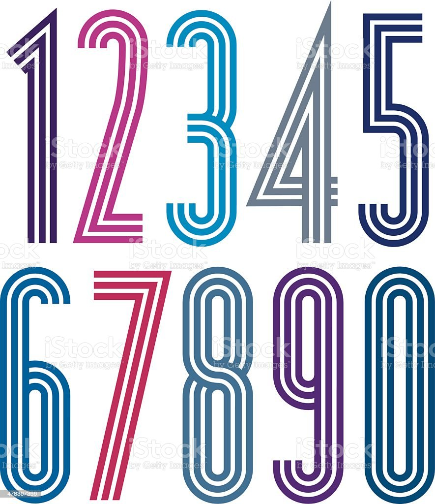 Poster geometric bright simple striped numbers with triple lines vector art illustration