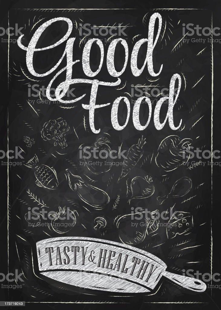 Poster good food chalk blackboard vector art illustration