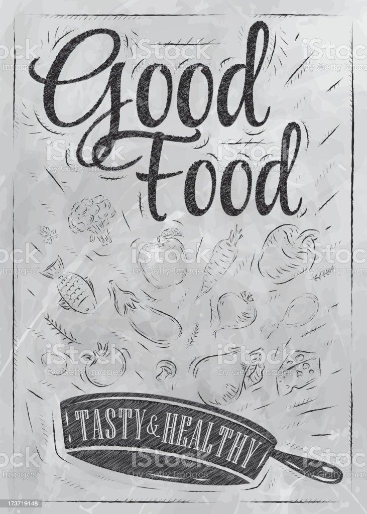 Poster good food coal blackboar vector art illustration