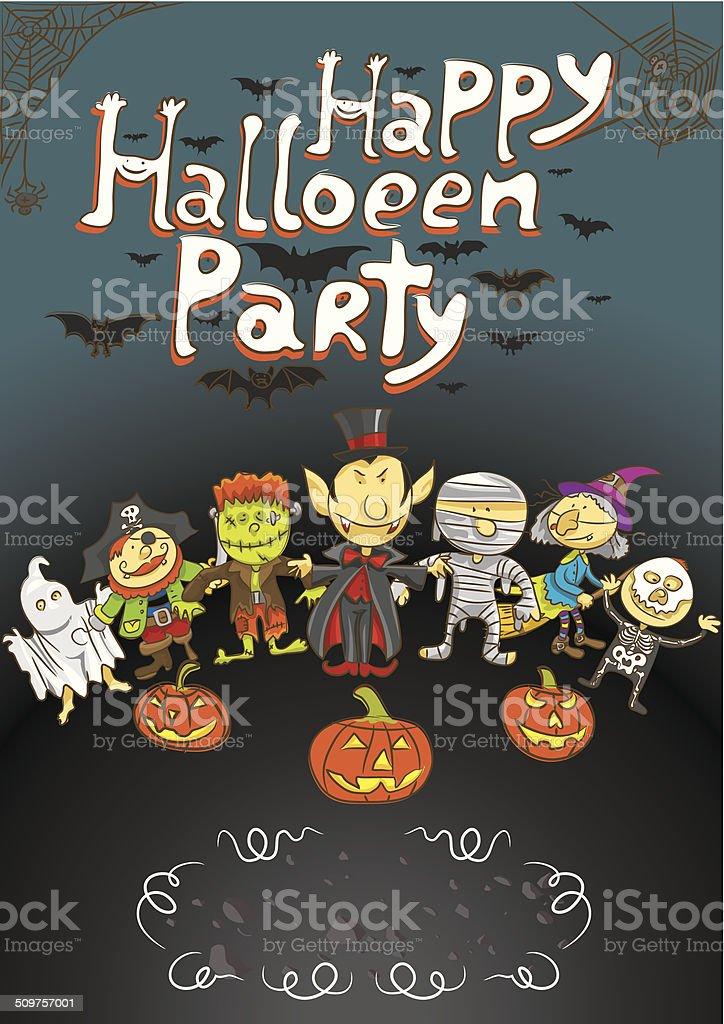 Poster Halloween kids vector art illustration