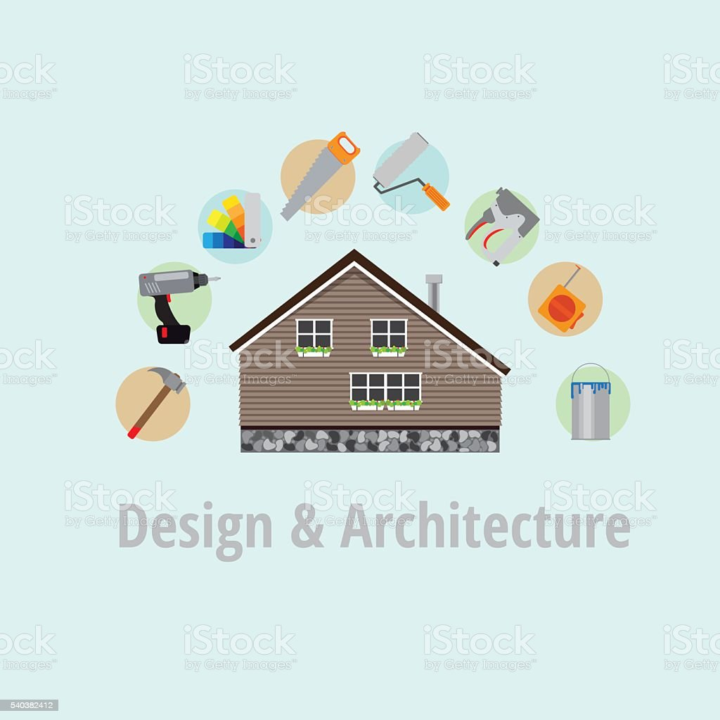 Poster home repairs. vector art illustration