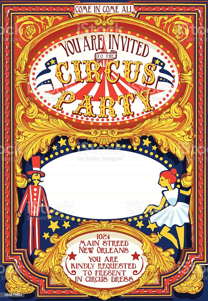 Poster Invite for Circus Party Carnival vector art illustration