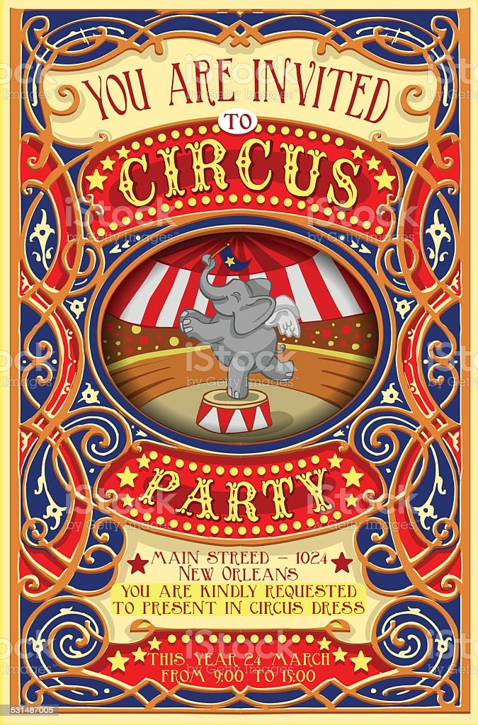 Poster Invite for Circus Party with Elephnant vector art illustration