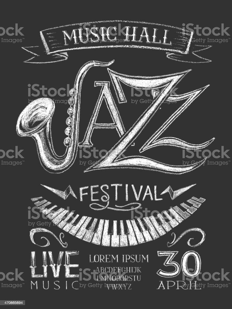 Poster Jazz Festival on the blackboard vector art illustration