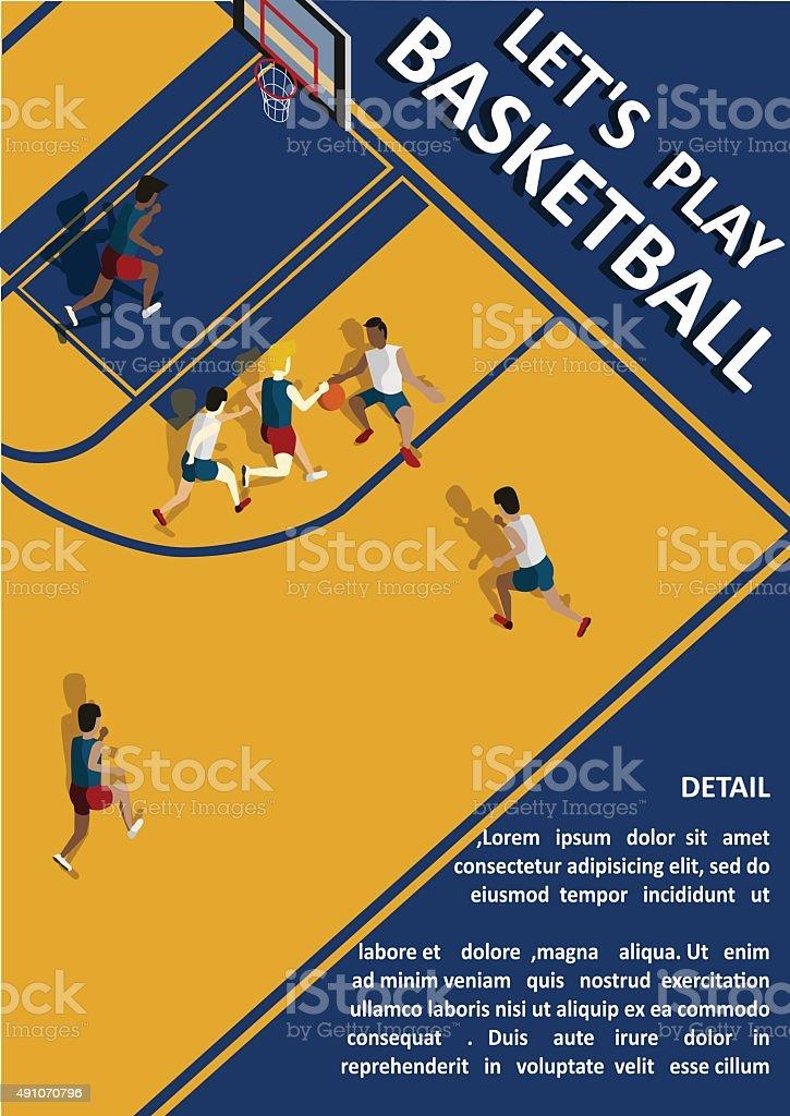 Poster Let's Play Basketball vector art illustration