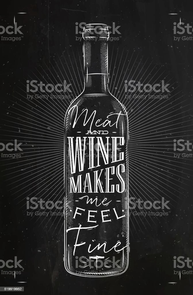 Poster meat and wine chalk vector art illustration