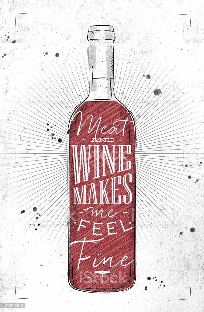 Poster meat and wine vector art illustration
