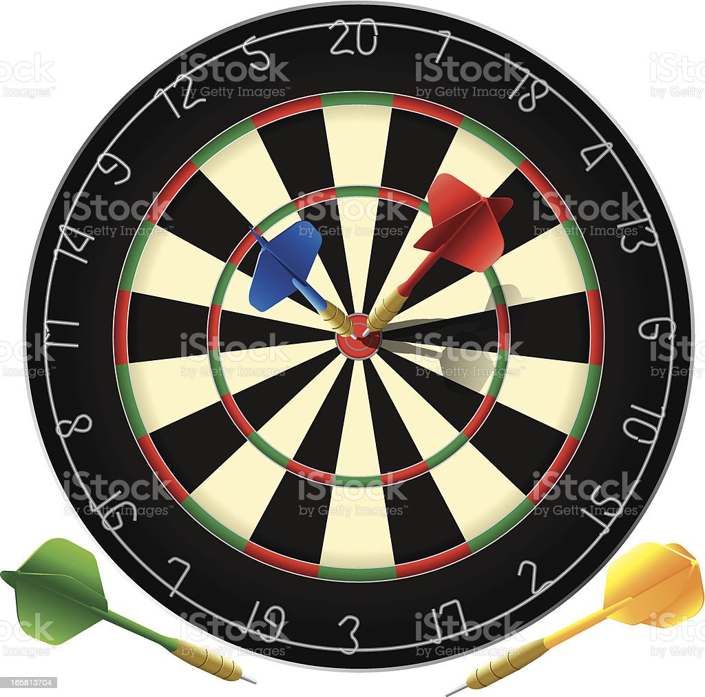 A poster of a dartboard with the bulls eye target vector art illustration