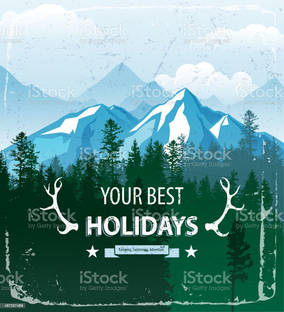Poster of a mountain and forest landscape vector art illustration