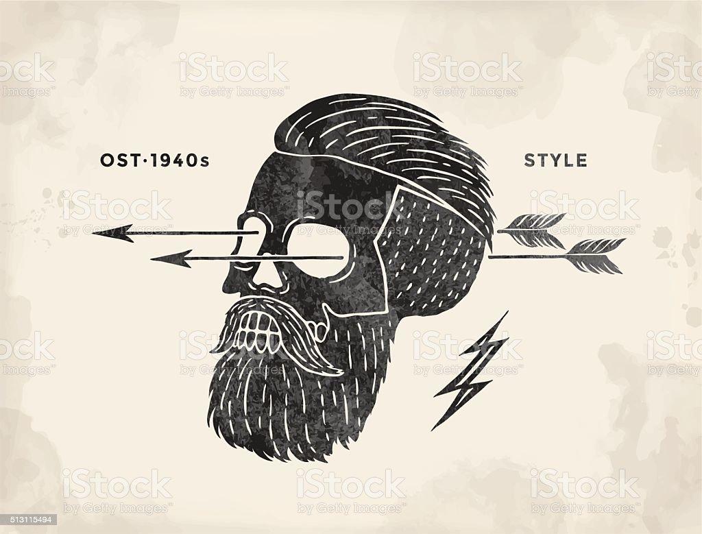 Poster of vintage skull hipster label. Retro old school set vector art illustration