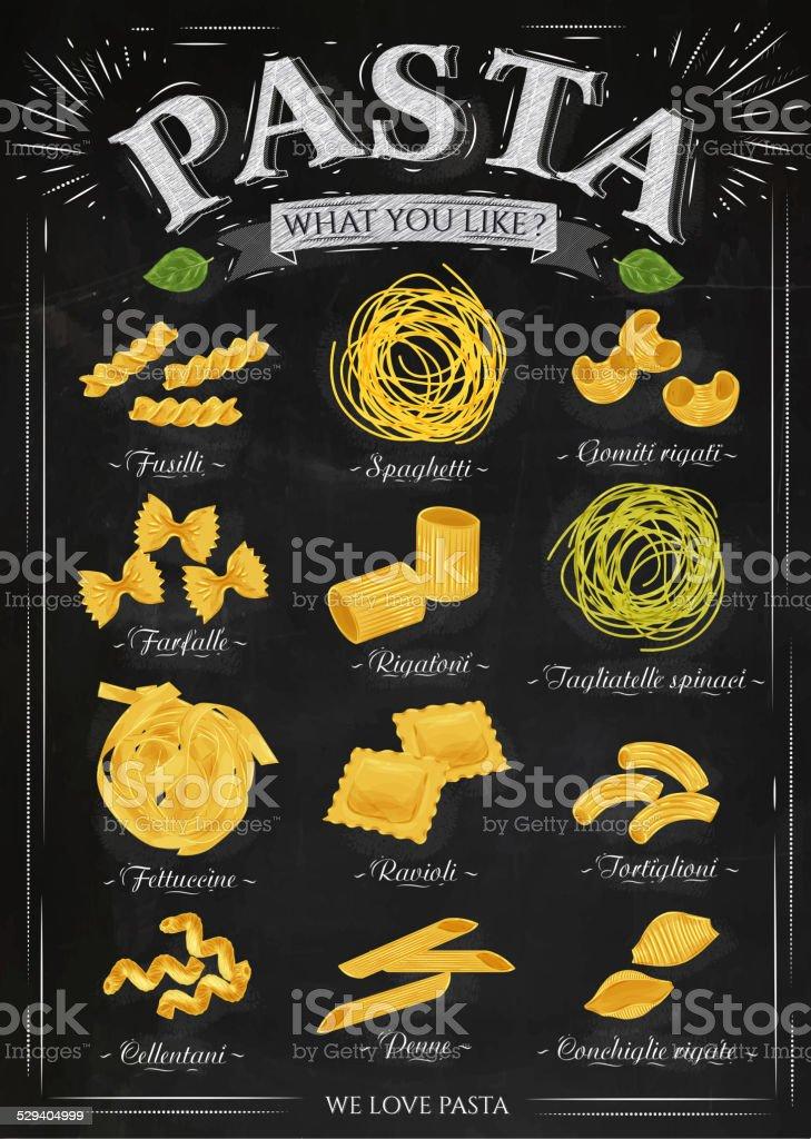 Poster pasta chalk vector art illustration