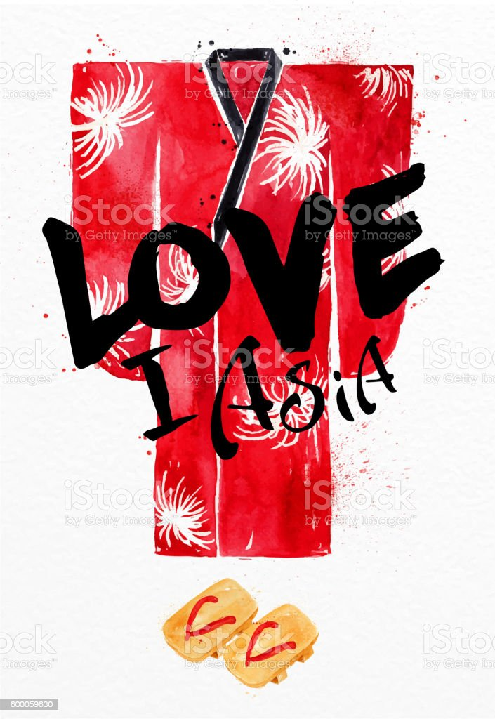 Poster red kimono vector art illustration