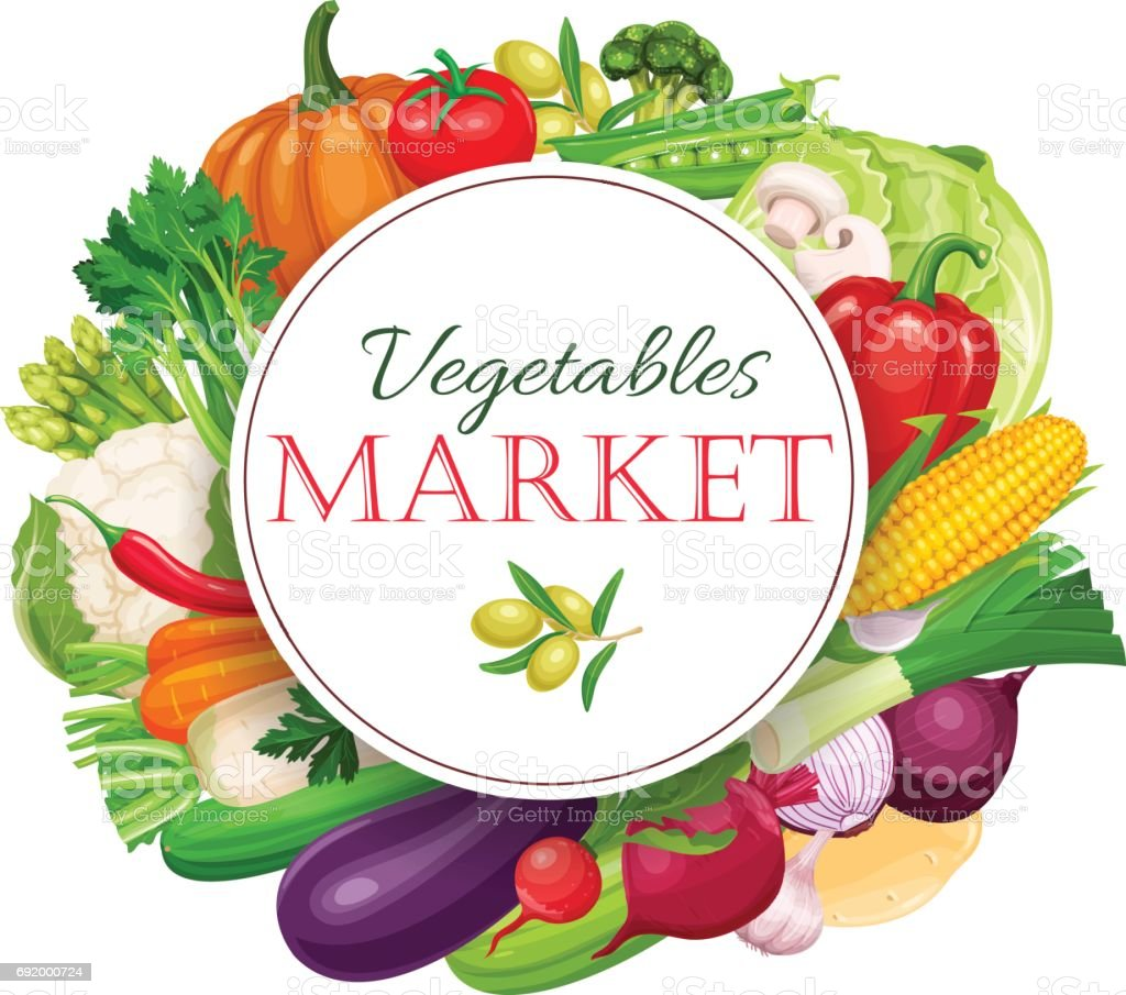 Poster round composition with colorful vegetables vector art illustration