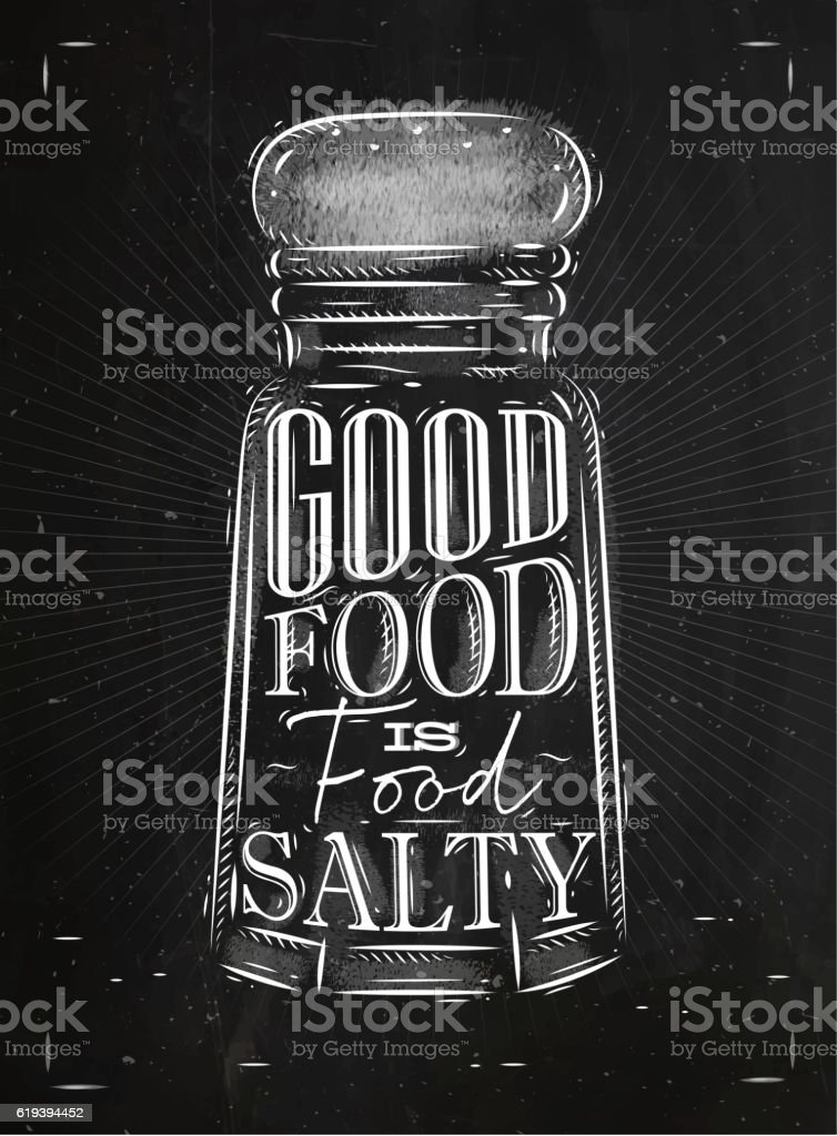Poster salty food chalk vector art illustration