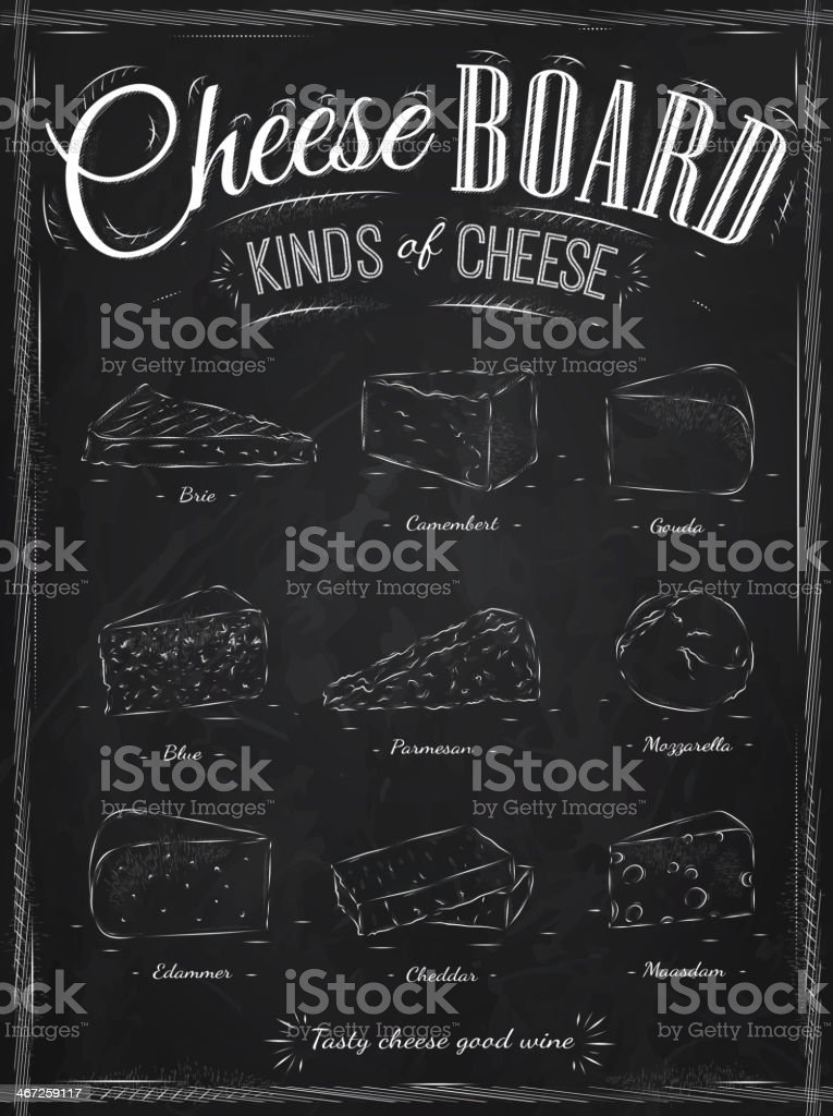 Poster set of cheese drawing with chalk. royalty-free stock vector art
