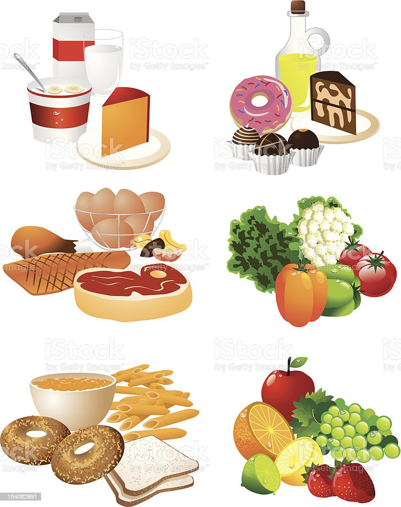 Poster showing the different food groups vector art illustration