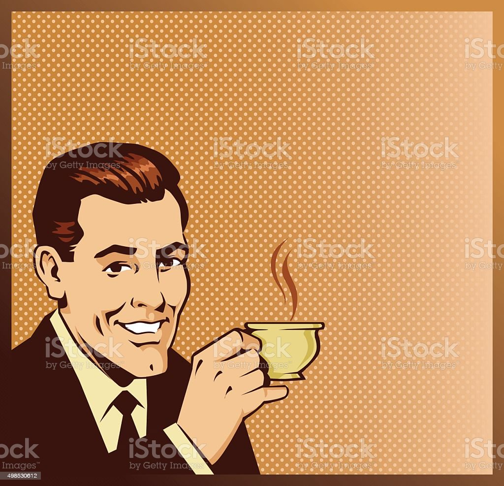 Poster Space For Retro Man Drinking Coffee vector art illustration