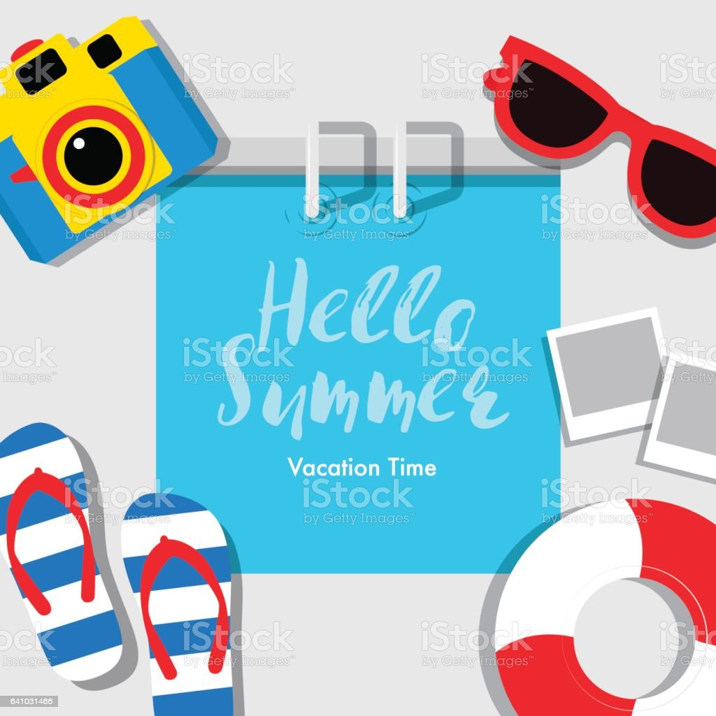 Poster Summer, vacation, summer,banner, cover book, vector illustration. vector art illustration