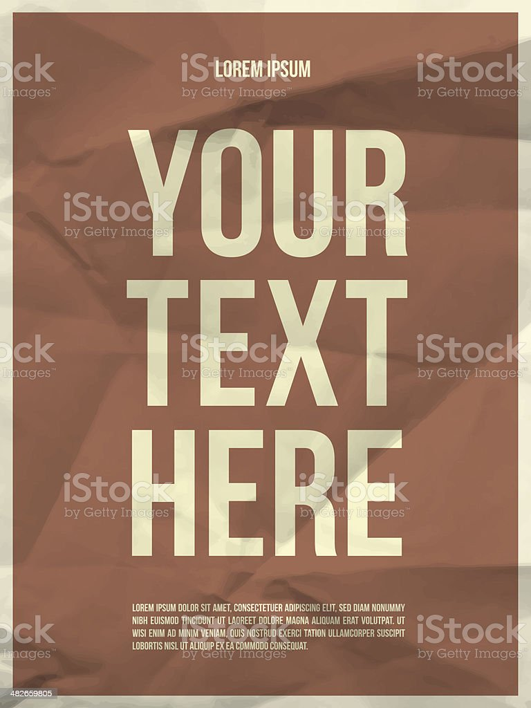 Poster template on crumpled paper texture vector art illustration
