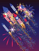 poster to American Independence Day with flying fireworks rocket